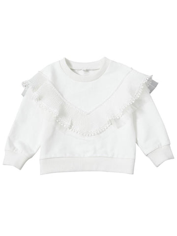 Infant Toddler Girls White Screw Collar Pullover Top