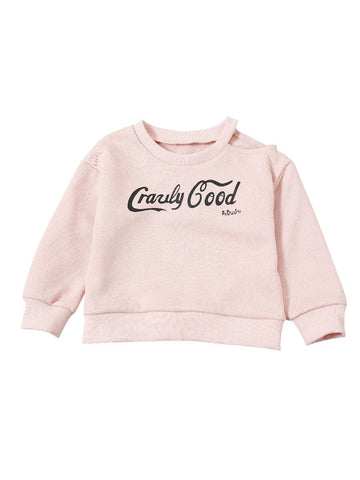 Baby Toddler One Off Shoulder Pink Ruffled Sweatshirt