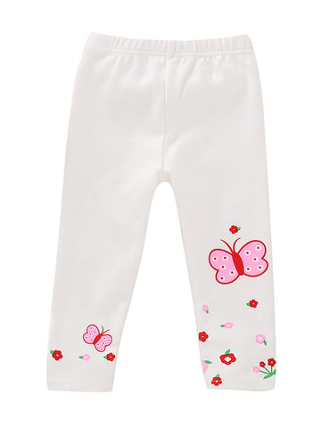 Toddler Girls Butterfly White Leggings