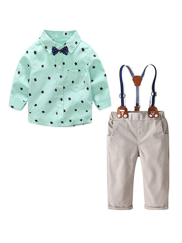 Baby Boy Long Sleeve Shirt With Adjustable Shoulder Straps Set