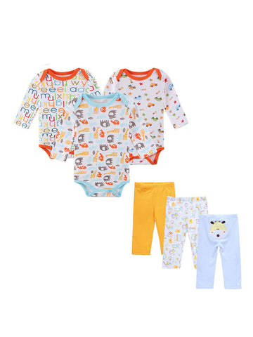 Cotton Made 6 Piece Newborn Onesie with Pants