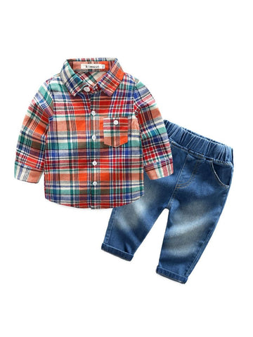 Baby Boy Checked Shirt Set