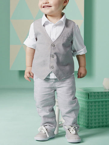 Little Boy White Shirt Suit with Striped Trousers