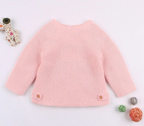 Infant Solid Color Knitted Sweater