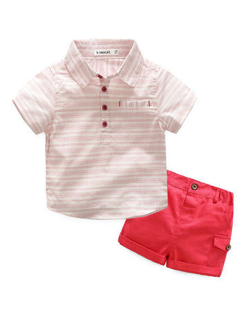 Boys Cotton Striped Shirt With Shorts