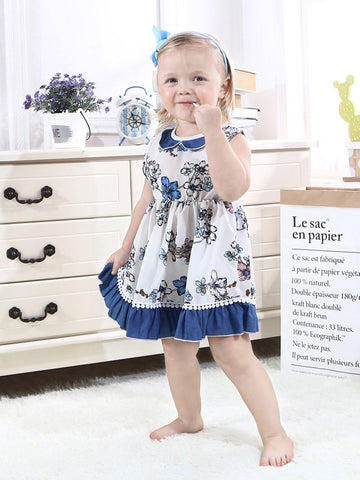 Girls Flower Print Sleeveless Dress