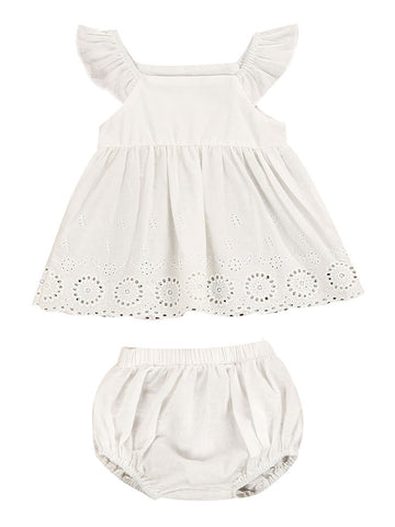 Baby Girl White Dress with Shorts Set