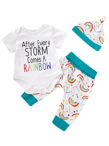Short-sleeved Onesie Rainbow Print
