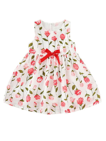 Baby Girl Rose Print Sleeveless Dress
