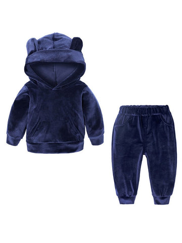 Babies Toddlers Boys Velvet Outfit Set with Hoodie & Pant