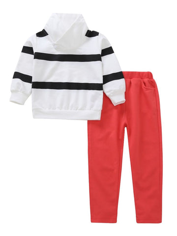 Little Boy Striped T-shirt Red Pants Set