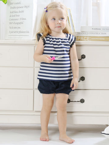 Baby Girl Stripe T-shirt with Frilled Shorts