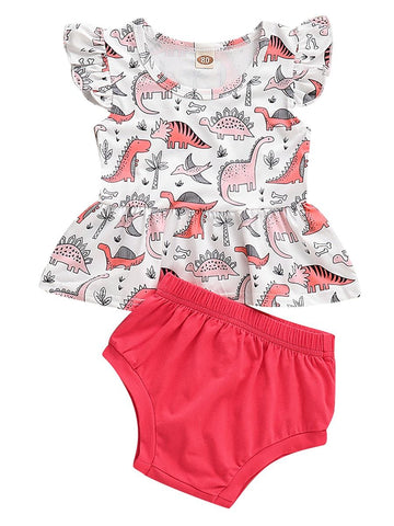 Baby Girl Dinosaur Short Flutter Sleeve Dress