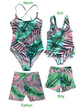 Leaf Print One-Piece Swimwear for Mom and Daughter