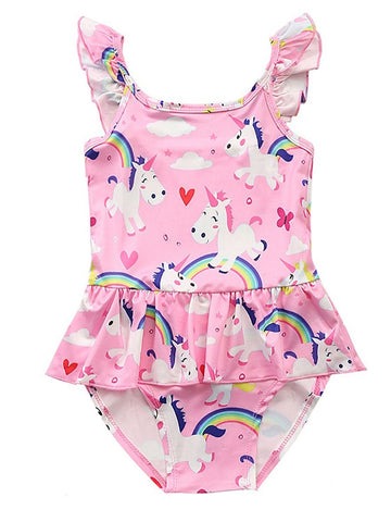 Toddler Girls Unicorn Rainbow Swimming Suit
