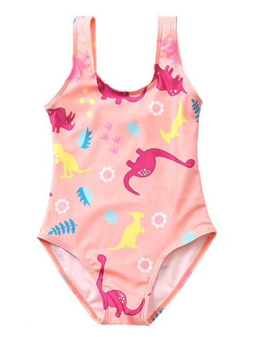Toddler Girl Cartoon Dinosaur Swimming Suit