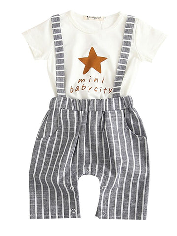 Baby Boy Star Print T-shirt with Pant Set