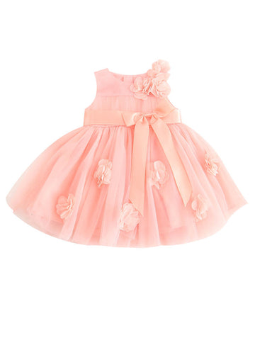Baby Girl Flower Bow Dress-Pink