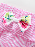 Baby Girl Flower Bow Sleeveless Top With Shorts