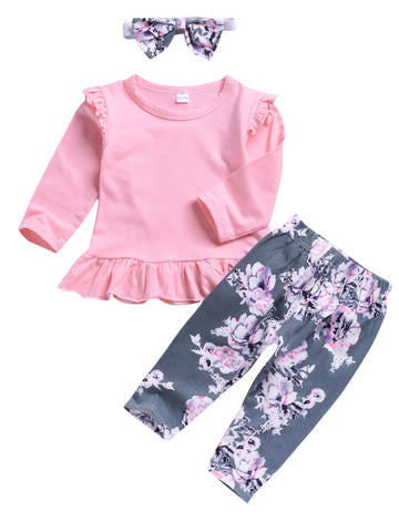 Baby Girl Long Sleeve Pink Tunic with Headband