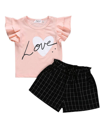 Girls Flutter Sleeve Top with Pant Set