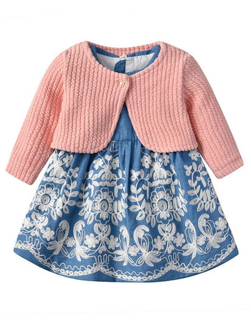 Toddler Baby Girl Denim Dress with Sweater