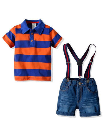 Toddler Boys Polo T-shirt with Short Jeans