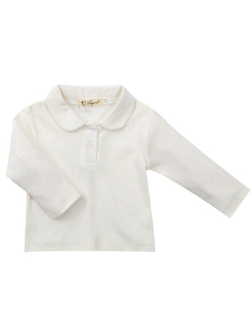 Baby Girl Collar White Pullover T-shirt