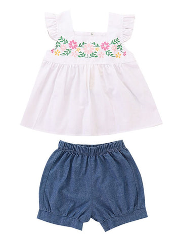 Baby Toddler Girl Flower White Top+Bread Pants