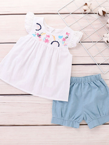 Baby Girl White Top with Shorts