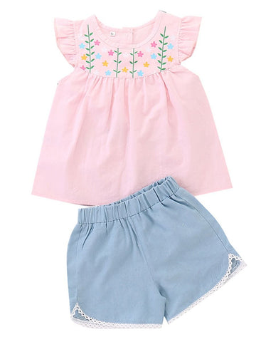 Little Baby Girl Pink Flower Tunic with Blue Shorts