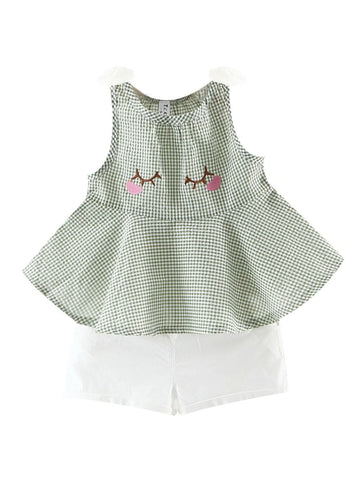 Baby Girl Checked Sleeveless with Shorts