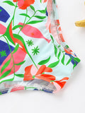 Little Girl Flower Print  Swim Suit
