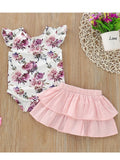 Baby Flutter Sleeve Bodysuit With Pink Skirt