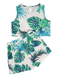 Baby Little Girl Leaf Print Sleeveless Top With Shorts