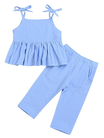 Baby Little Girl Blue Tie Ruffle Top with Pants