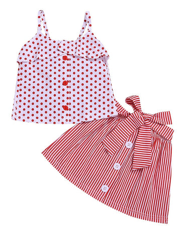 Baby Toddler Girl Red Polka Dots With Stripe Skirt