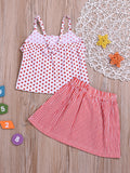 Baby Toddler Girl  Red Polka Dots With Stripe Skirt-Wholesale