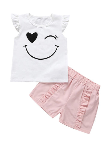 Baby Toddler Girl Smile T-shirt With Pink Shorts