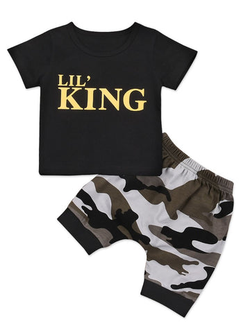 Baby Little Boys Black T-shirt with Pants