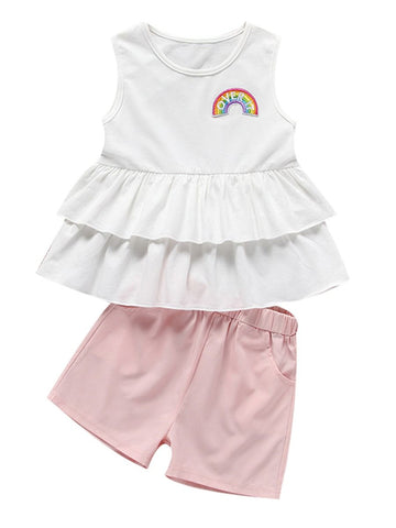 Baby Little Girl White Top with Pink Shorts Set