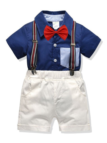 Baby Little Boys Collar Shirt Matching Bow with Shorts Set