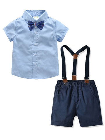 Baby Toddler Boys Blue Shirt Matching Bow Tie With Deep Blue Shorts
