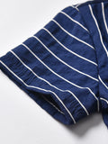 Little Boys Collar Stripe Matching Bow with Shorts