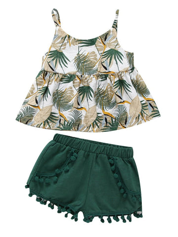 Baby Little Girl Leaf Print Top with Shorts- Wholesale