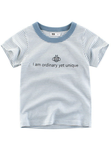 I am ordinary yet unique Letters Print Stripe T-shirt for Kids