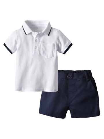 Baby Little Boys  Polo T-shirt With Shorts- Wholesale