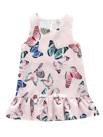 Baby Toddler Girl Butterfly Sleeveless Cute Shift Dress