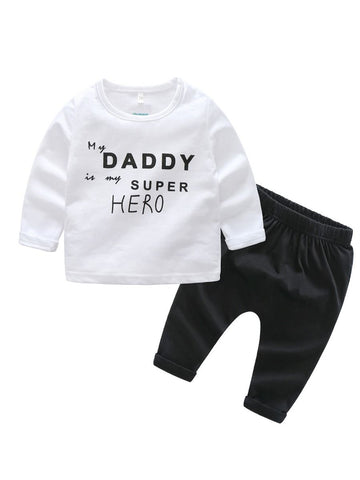 Baby  MY DADDY IS MY SUPER HERO White Pullover Trousers Set