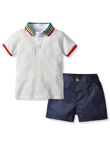 Baby Little Boy Rainbow Color Collar Polo T-shirt With Shorts- Wholesale